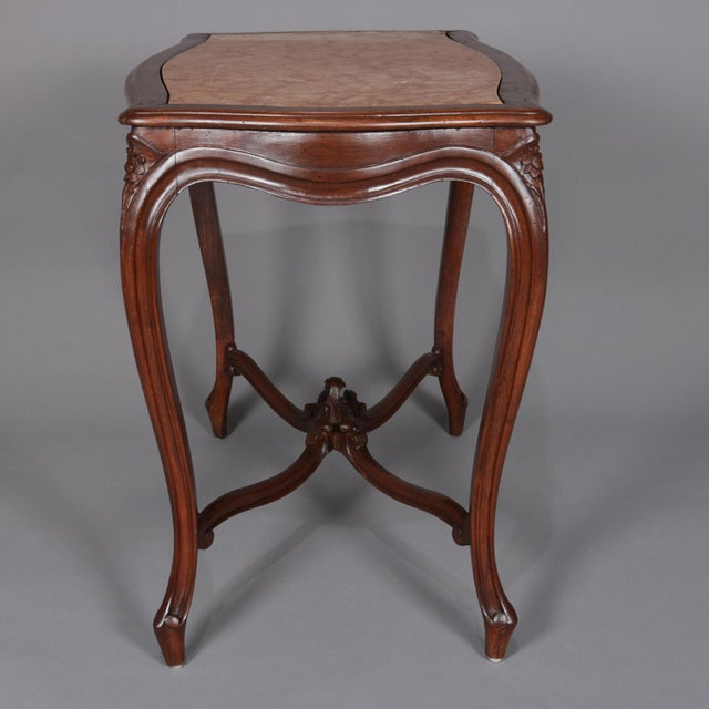 Antique French Louis XV Style Carved Walnut and Marble Center Table, Circa 1900 For Sale - Image 10 of 13