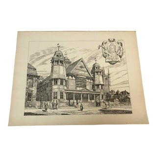 1893 Antique Marlborough College Architecture Drawing For Sale