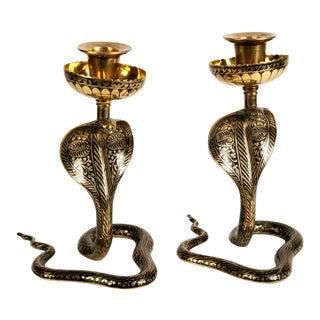 Pair of King Cobra Candlesticks