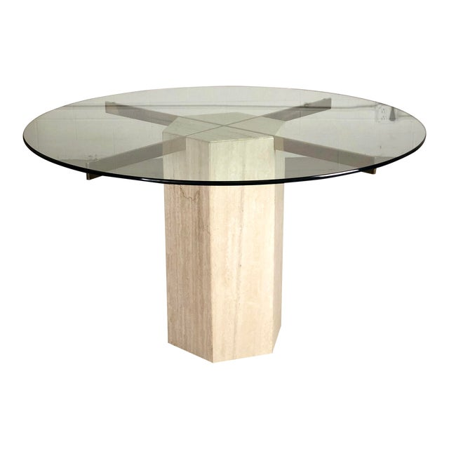 1980s Modern Artedi Round Travertine Stone and Glass Dining Table For Sale