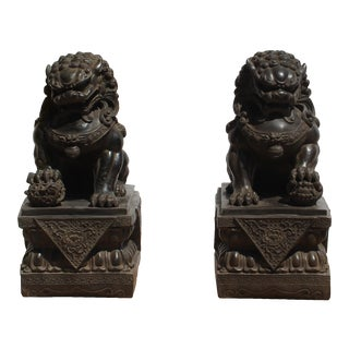 Pair Chinese Distressed Black Brown Marble Like Fengshui Foo Dogs For Sale