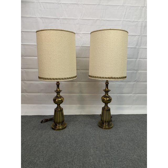 1960s Brass Stiffel Table Lamps With Glass Diffusers and Shades - a Pair For Sale - Image 11 of 11