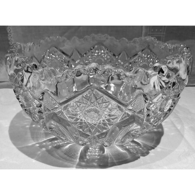 Glass Hand Cut Crystal Czech Bohemian Glass Bowl For Sale - Image 7 of 7