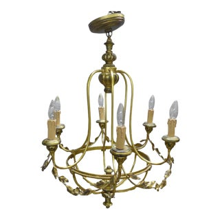 Neoclassical Style Brass Tole Floral Garland Motif Chandelier For Sale