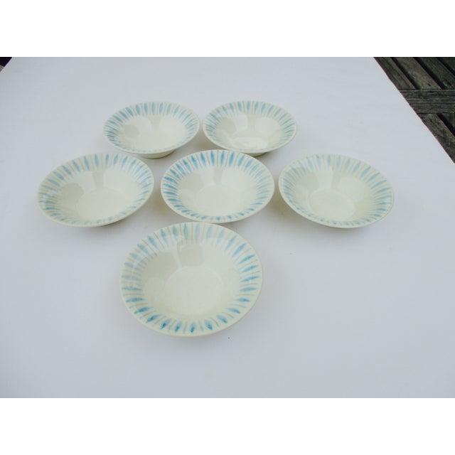 Vintage 1950s Turquoise Starburst Bowls - Set of 6 - Image 2 of 5