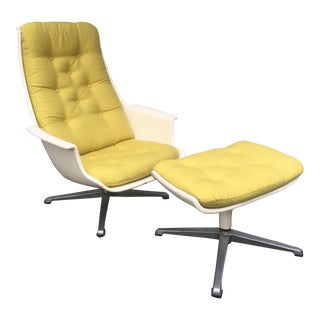 Space Age Swivel Chair and Ottoman For Sale