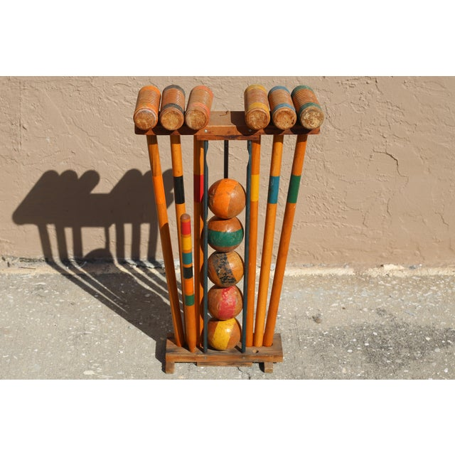 1960s Vintage Wooden Croquet Set With Rack For Sale - Image 5 of 8