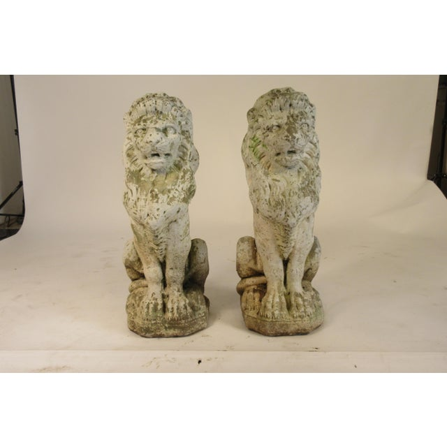 Regal pair of 1940s concrete lions from a Greenwhich Connecticut home.
