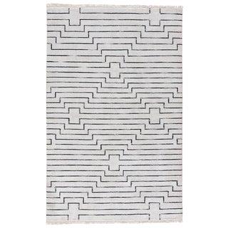 Jaipur Living Alloy Handmade Geometric White / Black Area Rug - 5′ × 8′ For Sale