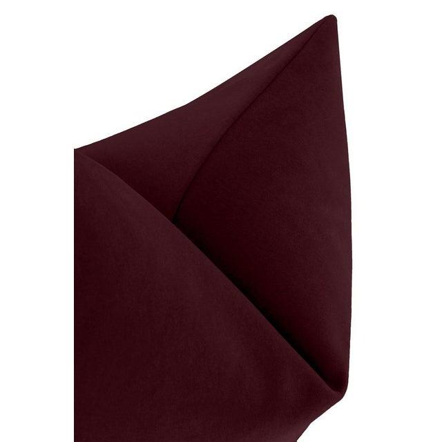"""22"""" Merlot Italian Velvet Pillows - a Pair For Sale - Image 4 of 5"""