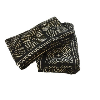 """African Mali Black and White Mud Cloth Textile / Pair 60"""" by 40"""" Pair For Sale"""