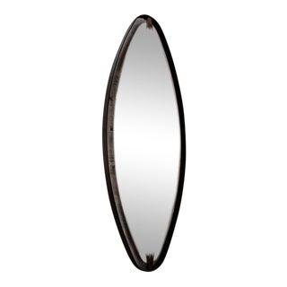Ma+39's Oversized Iron, Brass Oval Mirror For Sale