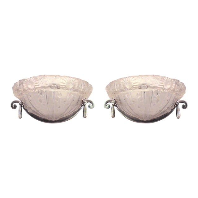 French Art Deco Molded Glass Half Round Wall Sconces- A Pair For Sale
