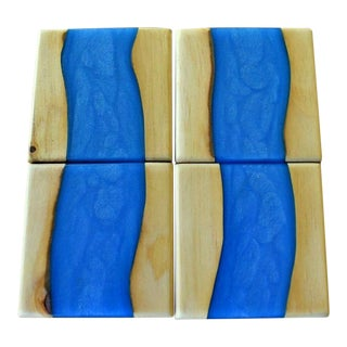 Resin Cerulean Blue Recycled Wood Drink Coasters - Set of 4 For Sale