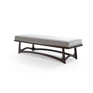 Modernist Sculptural Walnut Bench in Velvet Preview