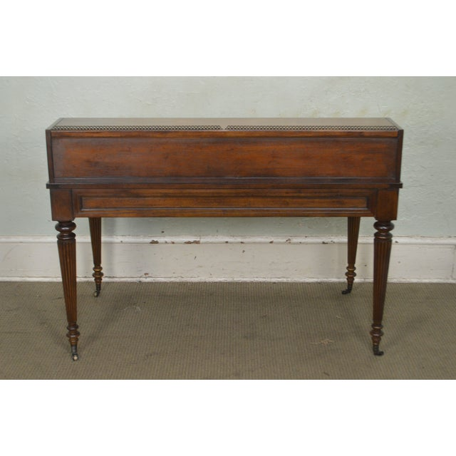 Animal Skin Drexel Heritage Covington Park Collection Regency Style Leather Top Mahogany Writing Desk (A) For Sale - Image 7 of 13