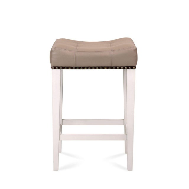 French Cocktail Counter Stool in Gray Vinyl For Sale - Image 3 of 3