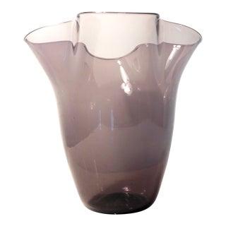 "Blenko|• Lilac #404 Handblown Art Glass Fluted Vase | 9"" Pale Amethyst Handkerchief/Ruffle Flower Vase Centerpie For Sale"