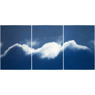 """""""Waves of Clouds"""" Contemporary Handmade Cyanotype Print by Kind of Cyan - Set of 3 For Sale"""