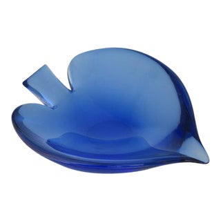 Mid-Century Navy Blue Murano Glass Angel Fish-Shaped Bowl