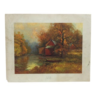 "Vintage Mid-Century ""The Old Mill"" Robert Wood Original Print For Sale"