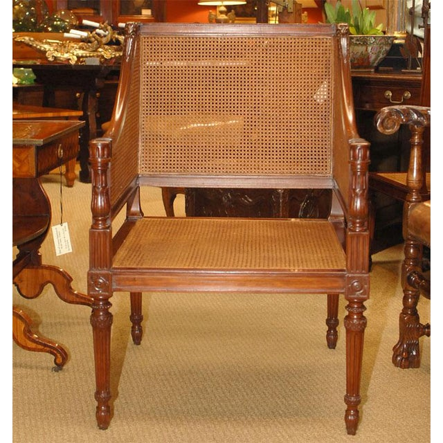 Large Caned Bergere Chair For Sale - Image 4 of 8