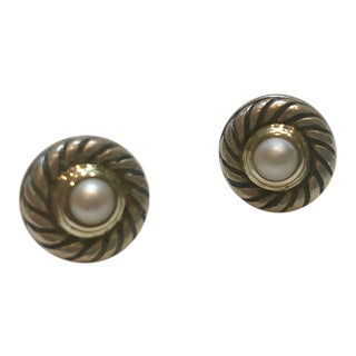 David Yurman Cookie Cable Pearl, Sterling and 14 Karat Earrings For Sale
