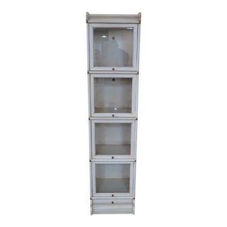 Transitional Globe Wernicke 4 Section White Stacking Narrow Bookcase For Sale