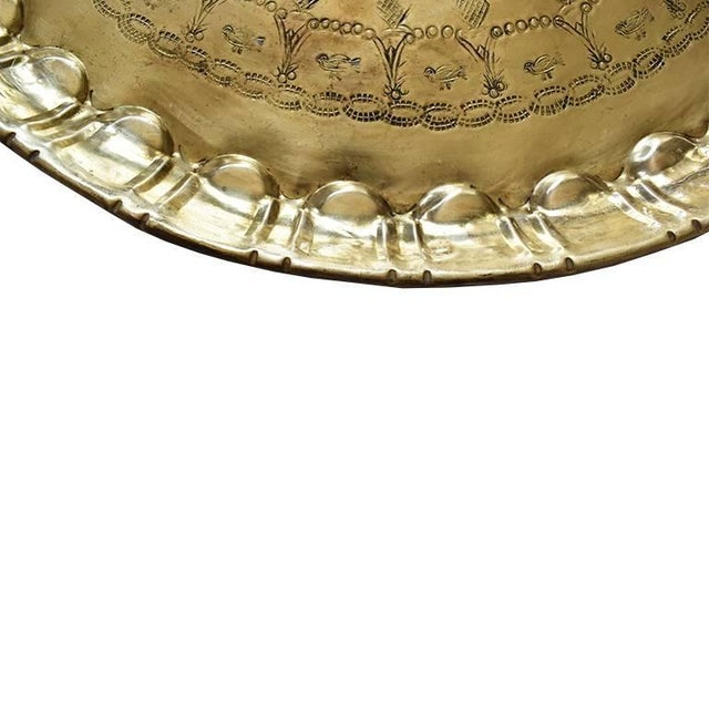 Middle Eastern, Moorish style polished heavy solid hammered brass tea tray. Finely hand-carved, with beautiful designs....
