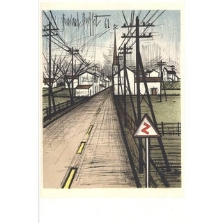 Bernard Buffet 'The Road to the Village' Green France Offset Lithograph For Sale