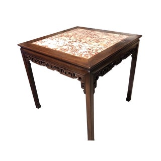 19th Century Chinese Carved Hongmu and Marble Square Table For Sale