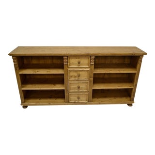Long Pine Bookcase with Four Drawers