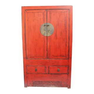 Antiqued Red Lacquer Armoire For Sale