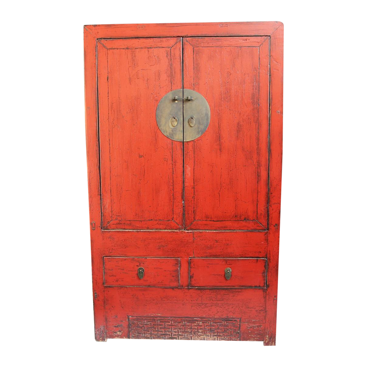 Ordinaire Antiqued Red Lacquer Armoire
