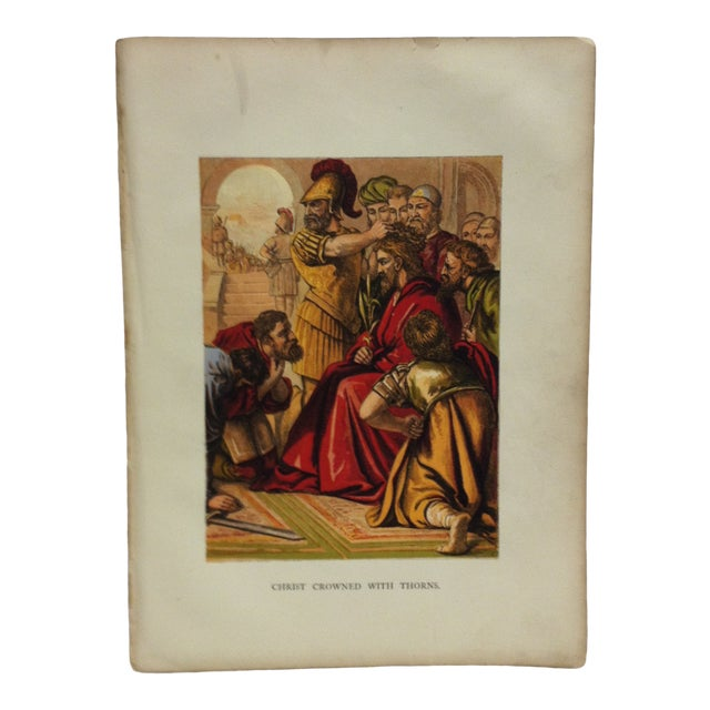 """Late 19th Century Antique """"Christ Crowned With Thorns"""" Religious Print For Sale"""