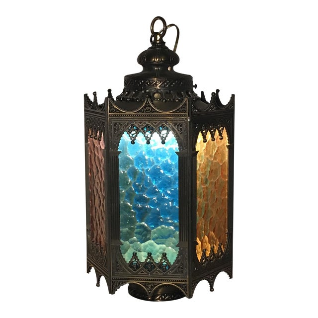 Gothic Brass Swag Lamp with Multi Colored Glass - Image 1 of 6