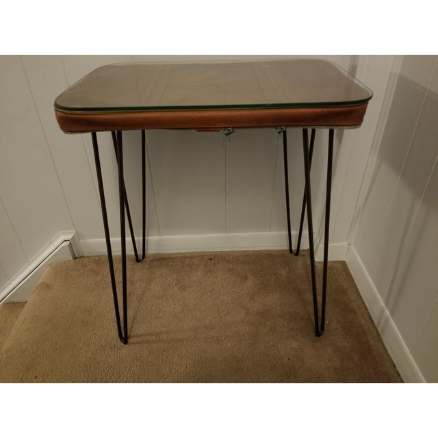 Animal Skin Vintage Suitcase Upcycled Side Table For Sale - Image 7 of 7