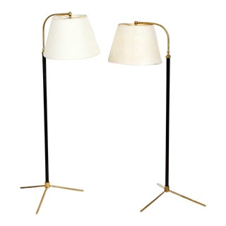 A Pair of Jacques Adnet Style Floor Lamps For Sale