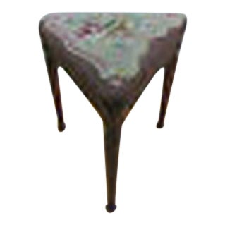 Antique French Louis XV Triangular Needle Point Ottoman/ Foot Stool For Sale