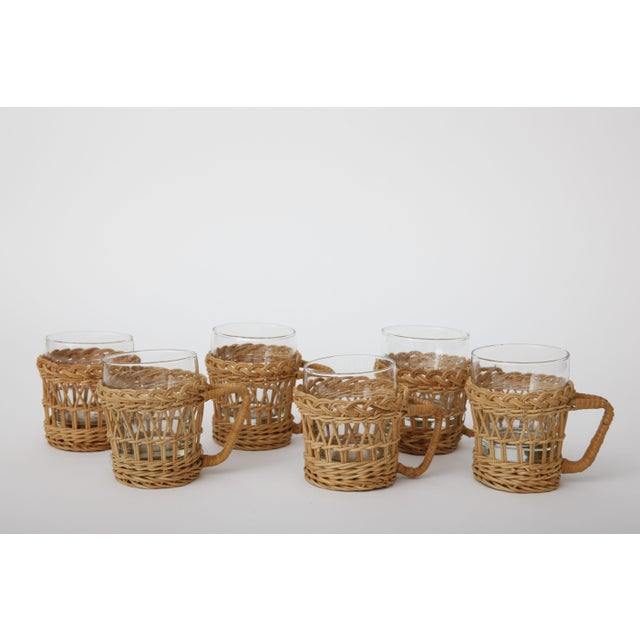 Boho Chic French Rattan Glasses With Rattan Holders - Set of 6 For Sale - Image 3 of 3