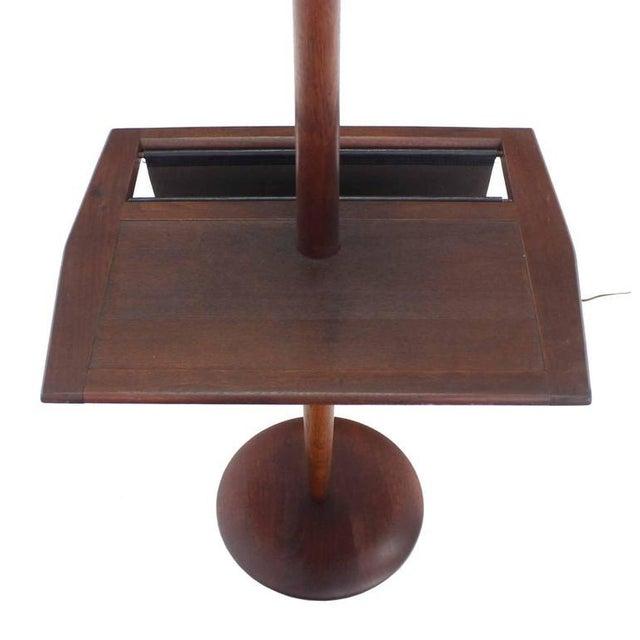 Danish Modern Oiled Teak Floor Lamp with Magazine Rack For Sale In New York - Image 6 of 8