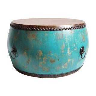 Turquoise Drum Coffee Table For Sale
