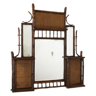 Late 19th Century Tortoise Bamboo Mirror & Shelf For Sale
