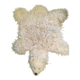 1970s Vintage Faux Polar Bear Yarn Rug - 3′6″ × 4′5″ For Sale