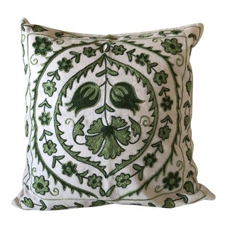 Green Turkish Suzani Pillow Cover For Sale