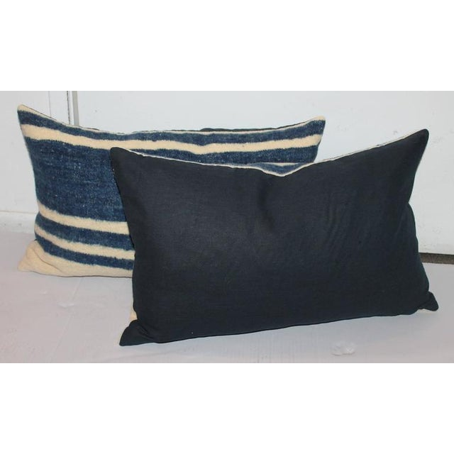 Adirondack Set of Four Indigo and White Striped Alpaca Bolster Pillows For Sale - Image 3 of 6