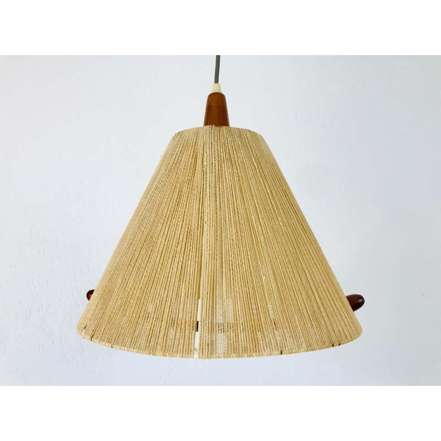 Midcentury Teak and Rattan Hanging Lamp, circa 1970 For Sale - Image 11 of 12
