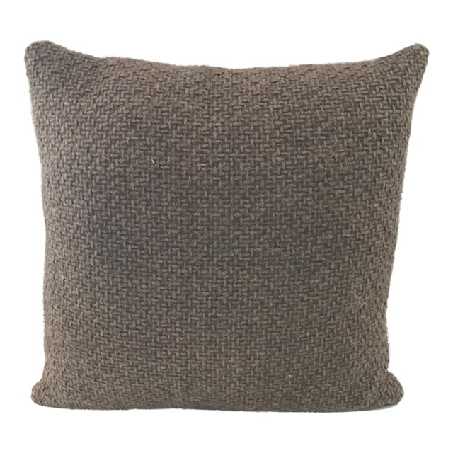 Transitional Brown Chunky Woven Pillow For Sale