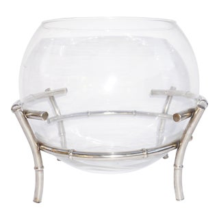 Vintage Silver Plated Faux Bamboo Stand & Large Glass Spherical Bowl | Punch Bowl | Chinoiserie Terriaum | Hollywood Regency Fishbowl For Sale