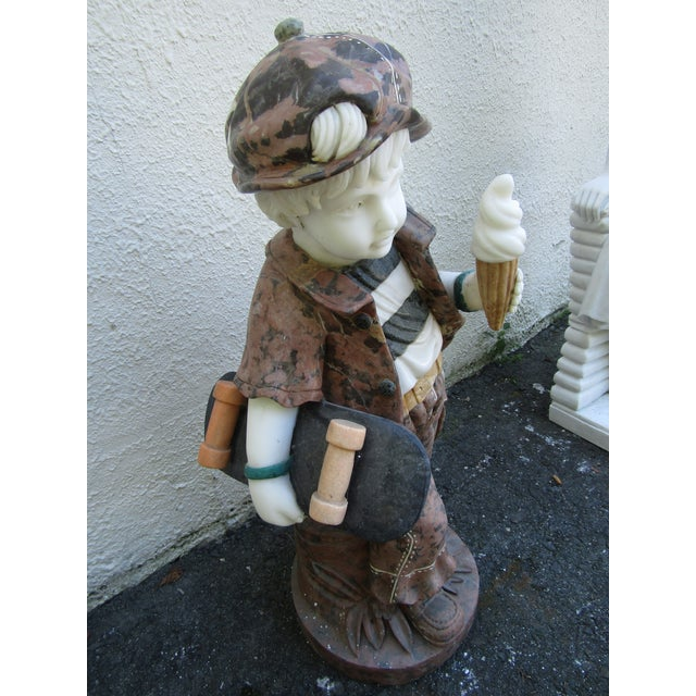 Figurative Granite Statue of a Boy Holding a Skateboard For Sale - Image 3 of 11